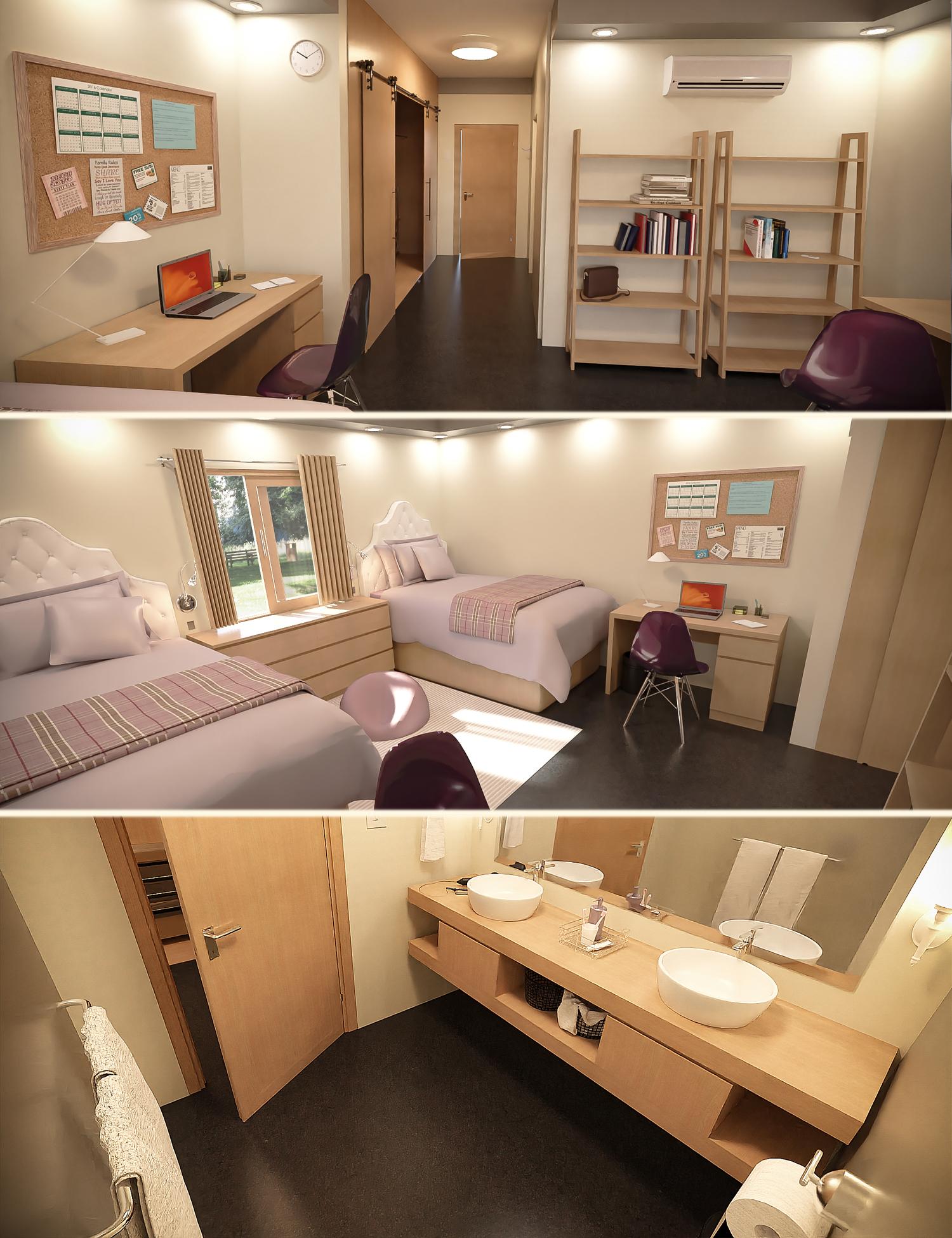 Girls Dorm Room by: Tesla3dCorp, 3D Models by Daz 3D