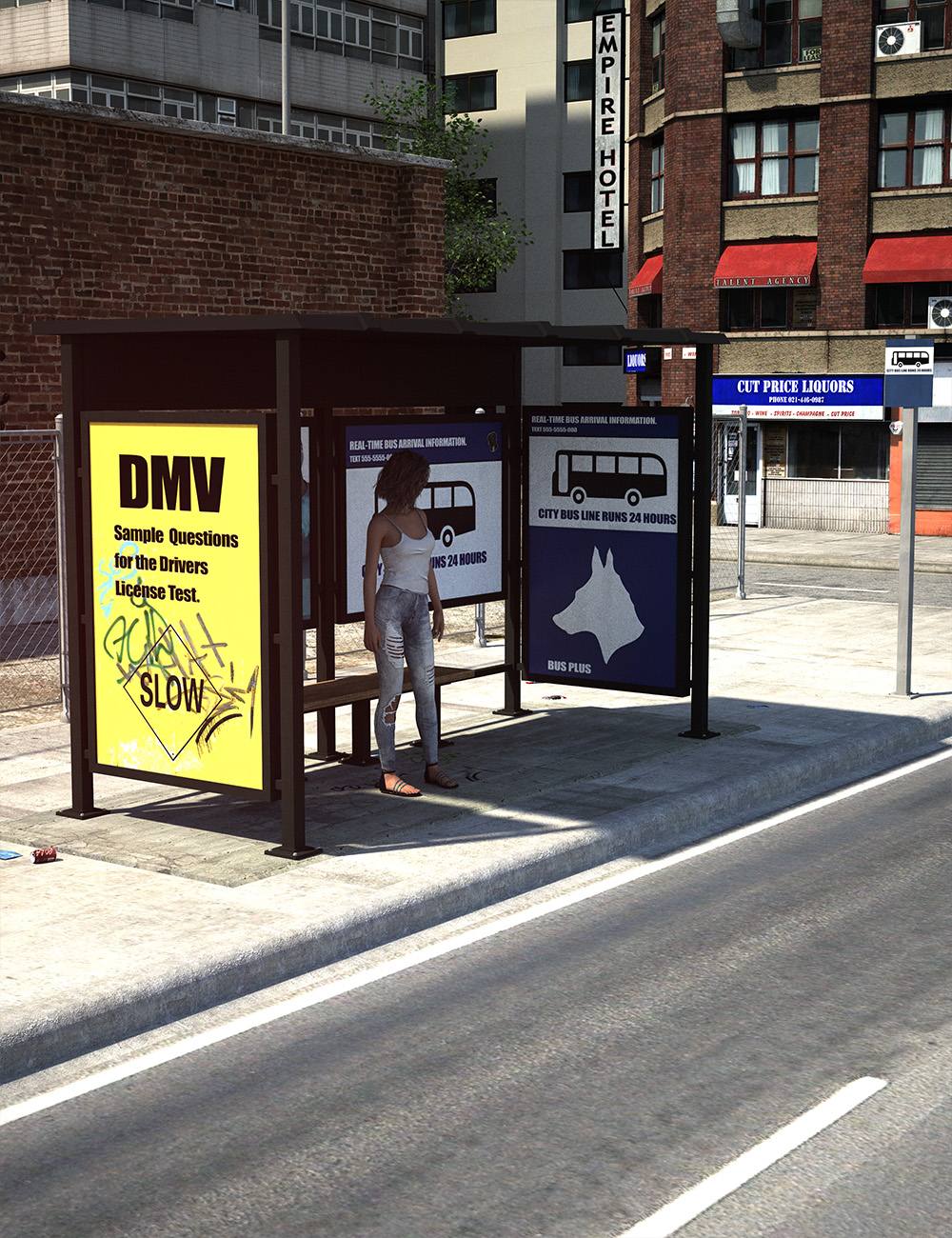 Urban Bus Stop by: , 3D Models by Daz 3D