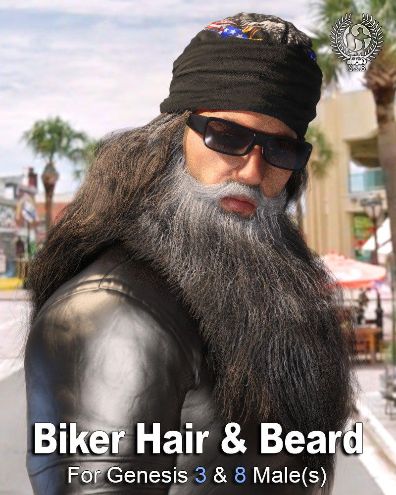 Biker Hair and Beard For Genesis 3 and 8 Male(s) by: SamSil, 3D Models by Daz 3D