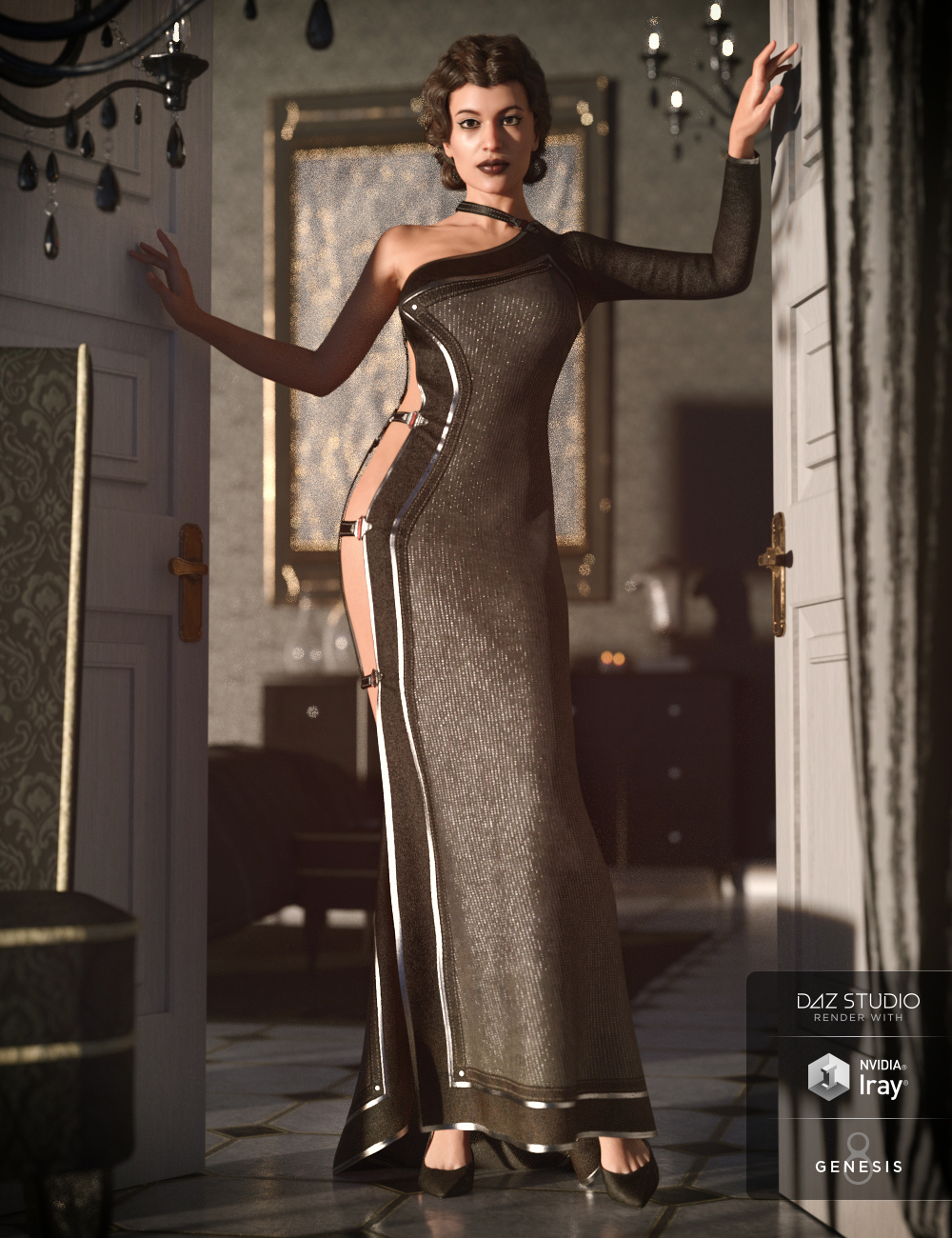 dForce Twilight Outfit for Genesis 8 Female(s) by: LuthbellinaNikisatez, 3D Models by Daz 3D