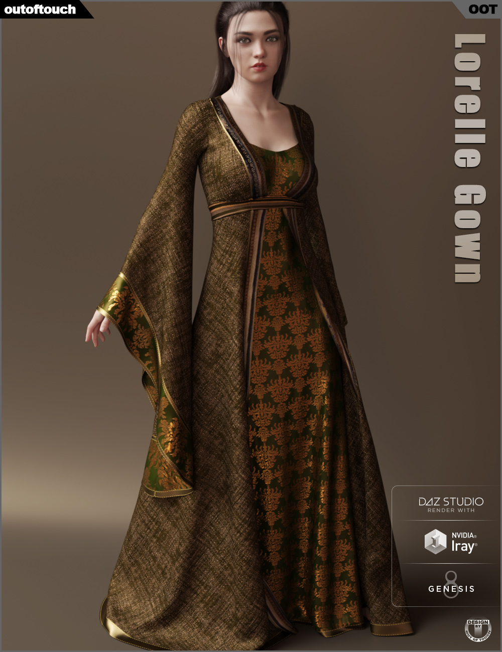 dForce Lorelle Gown by: outoftouch, 3D Models by Daz 3D