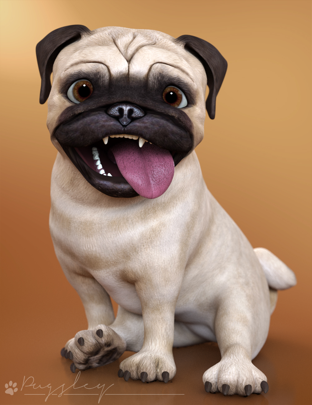 Pugsley the Stylized Pug by: 3D Universe, 3D Models by Daz 3D