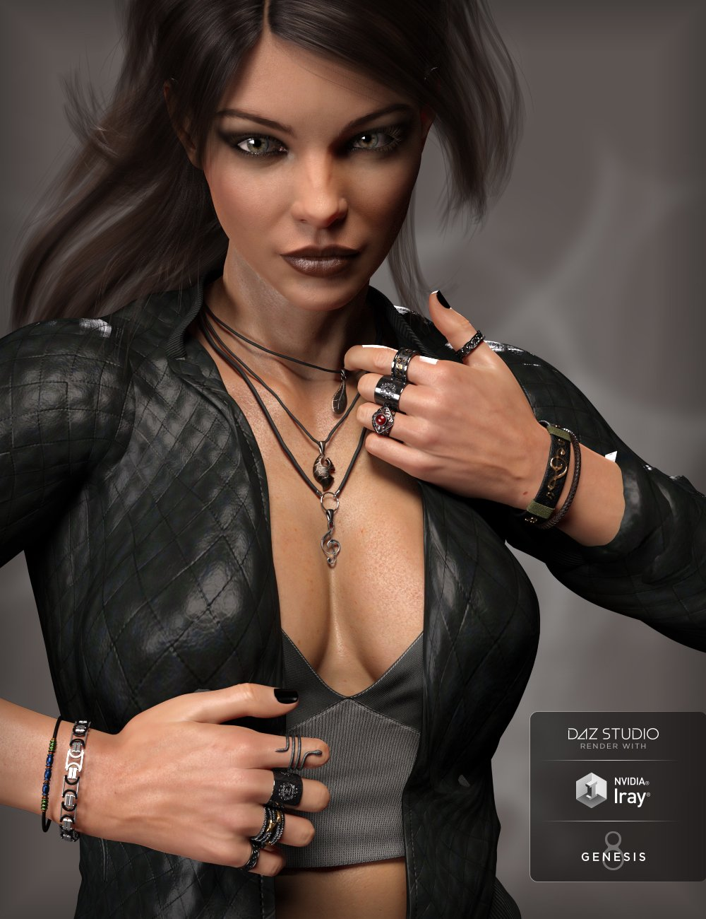 MD Rock Jewelry for Genesis 3 and 8 Female(s) by: MikeD, 3D Models by Daz 3D