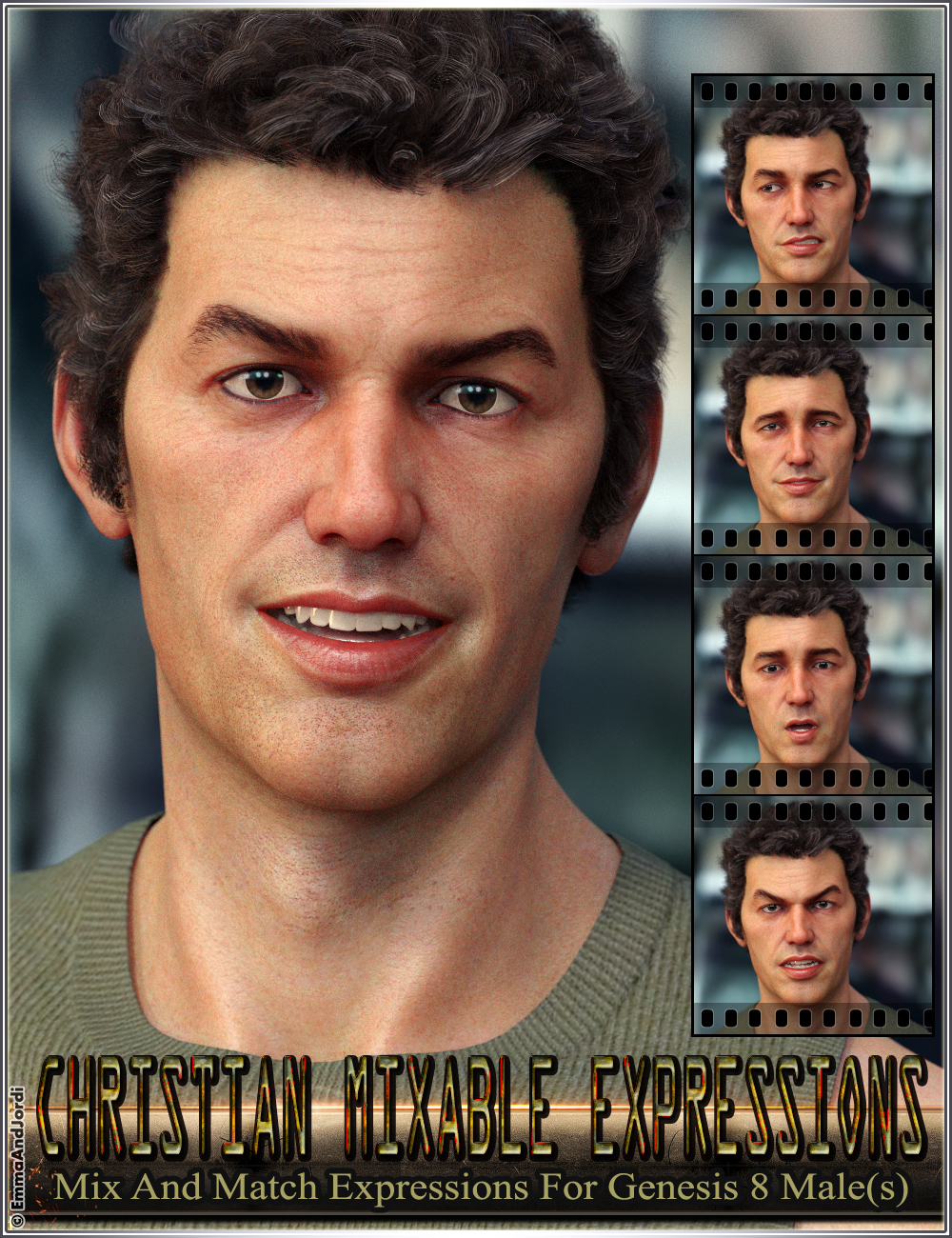 Christian Mixable Expressions for Genesis 8 Male(s) by: EmmaAndJordi, 3D Models by Daz 3D