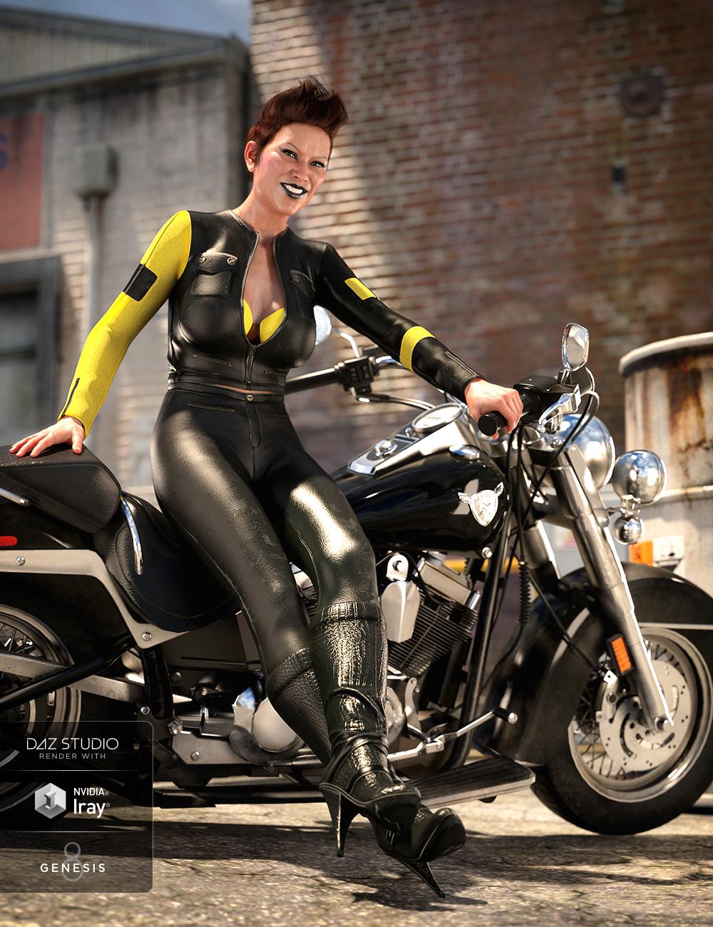 Moto Vixen Outfit for Genesis 8 Female(s) by: Anna BenjaminNikisatez, 3D Models by Daz 3D