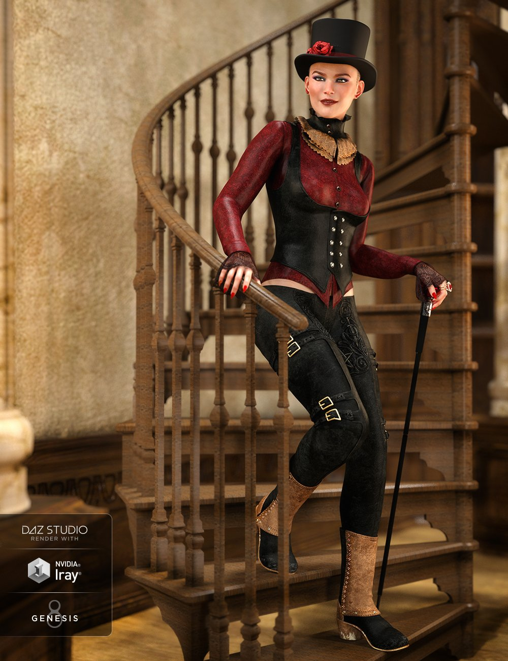 dForce Burgundy Creed Outfit for Genesis 8 Female(s) by: Barbara BrundonShox-DesignUmblefugly, 3D Models by Daz 3D