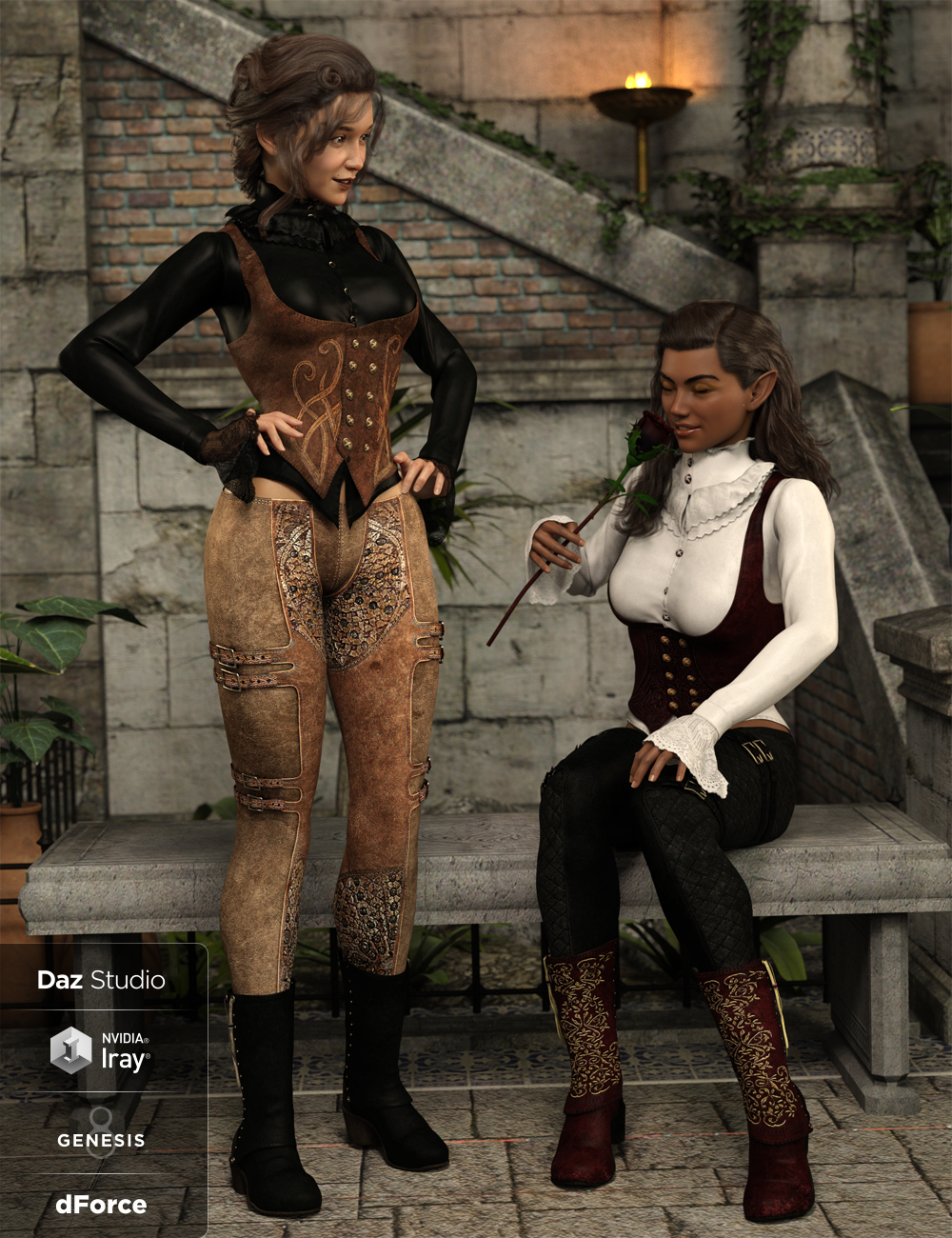 dForce Burgundy Creed Outfit Textures by: Shox-Design, 3D Models by Daz 3D