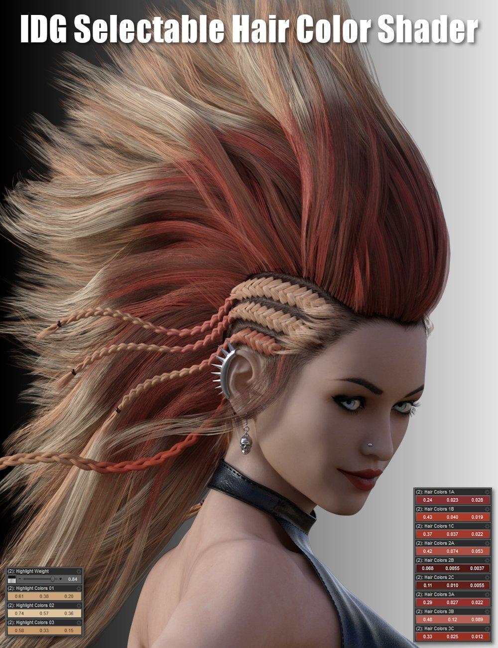 IDG Iray Selectable Hair Color Shader by: IDG DesignsDestinysGardenInaneGlory, 3D Models by Daz 3D
