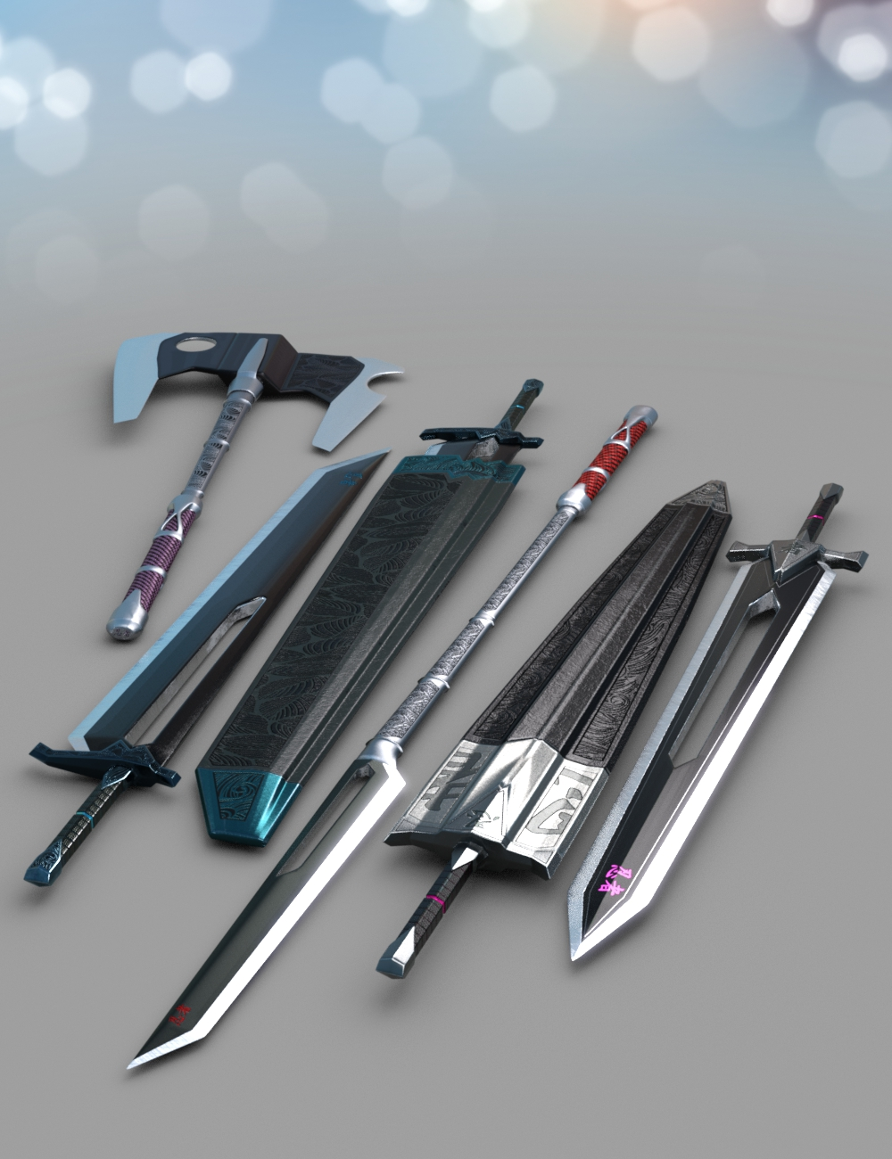 Anime Weapons by: Britech, 3D Models by Daz 3D