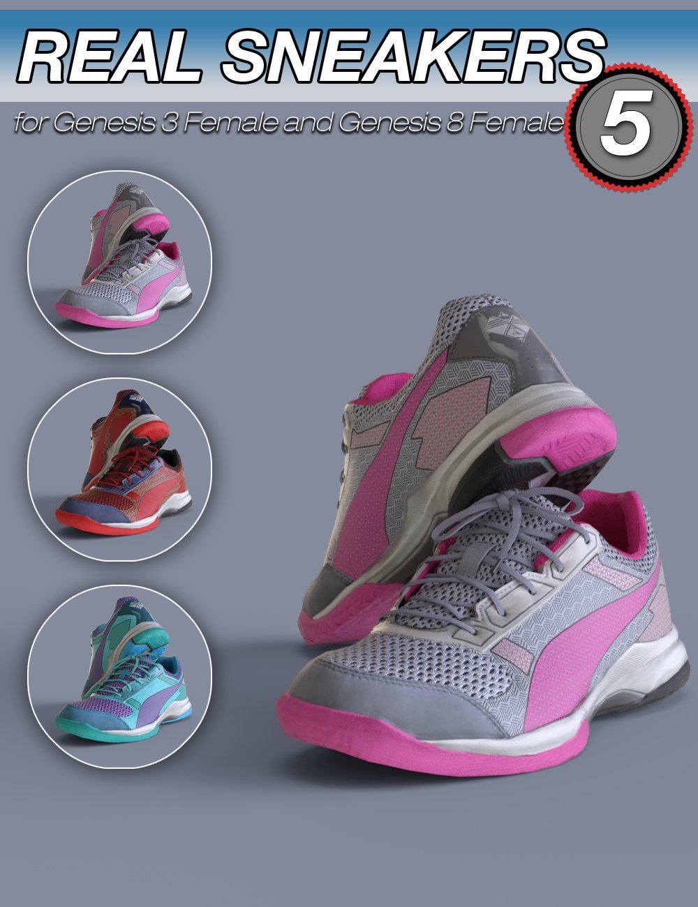 S3D Real Sneakers 5 for Genesis 3 and 8 Female(s) by: Slide3D, 3D Models by Daz 3D