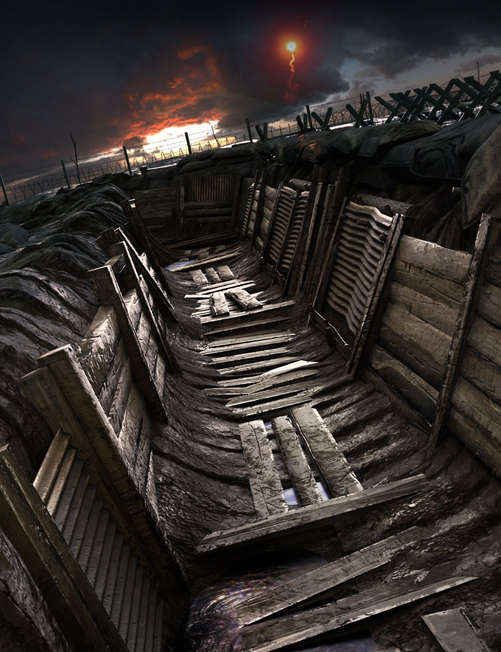 WW1 Trench, No Man's Land by: The AntFarm, 3D Models by Daz 3D