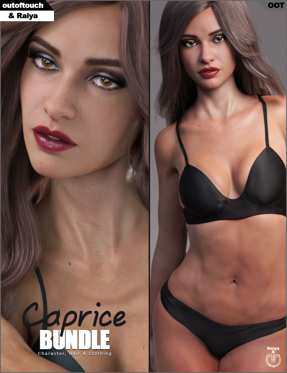Caprice Character, Hair and Clothing Bundle by: Raiyaoutoftouch, 3D Models by Daz 3D