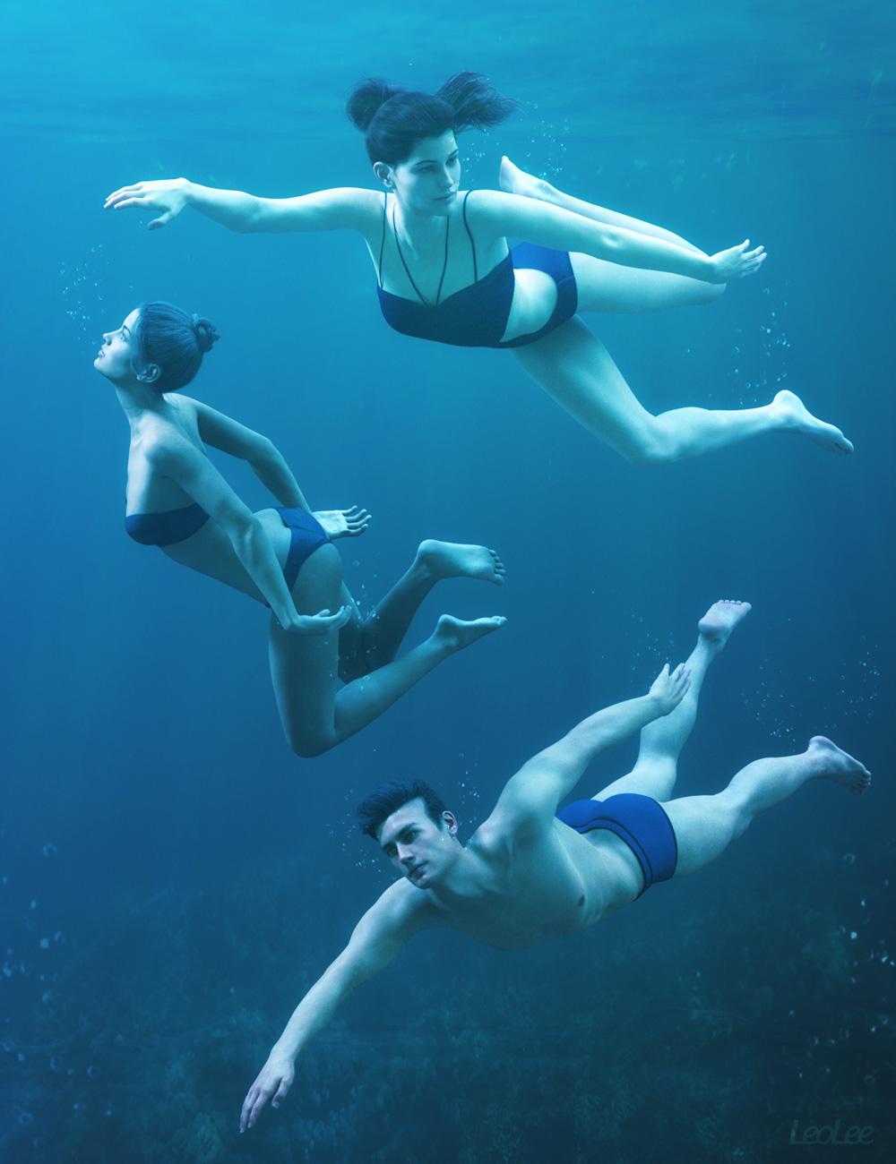 Underwater Poses for Genesis 3 & 8 by: Leo Lee, 3D Models by Daz 3D