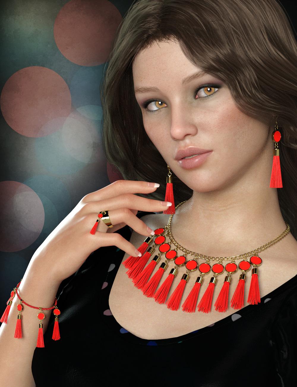 Tassel Jewelry Mega Pack for Genesis 8 Female(s) by: esha, 3D Models by Daz 3D