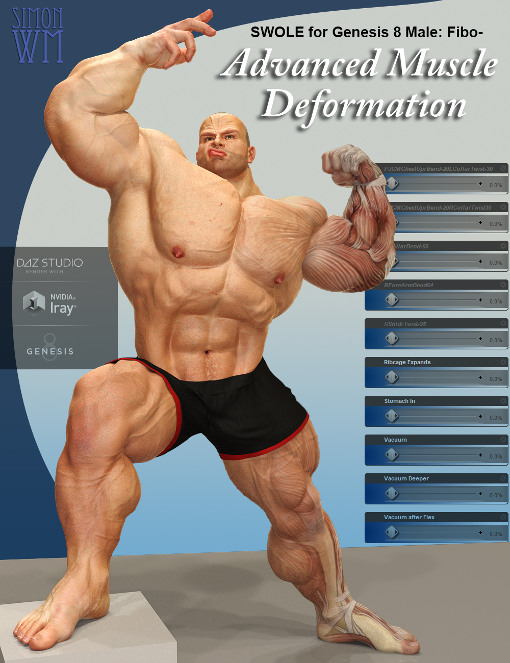 SWOLE for Genesis 8 Male: Fibo - Advanced Muscle Deformation by: SimonWM, 3D Models by Daz 3D