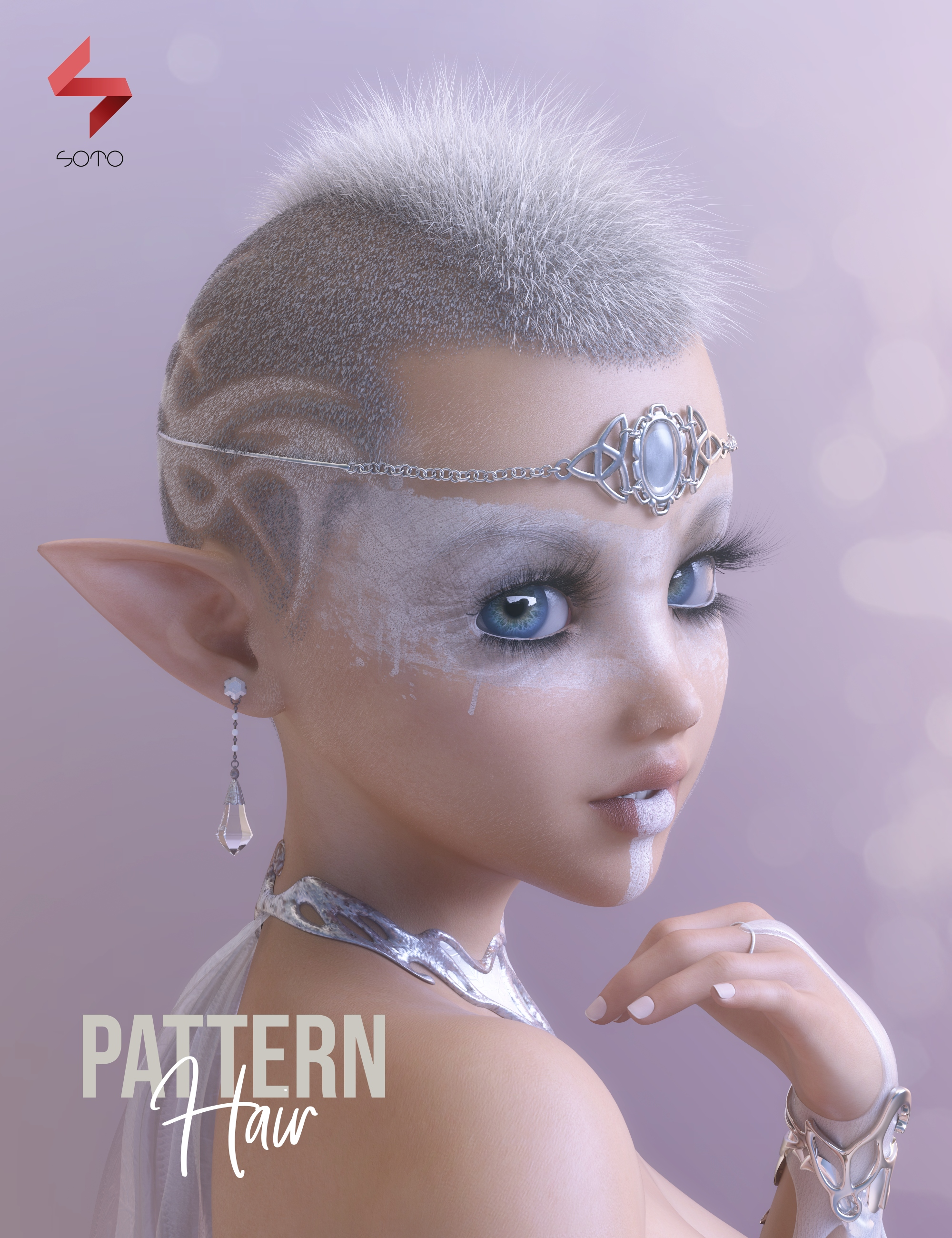 Pattern Hair for Genesis 3 and 8 by: Soto, 3D Models by Daz 3D