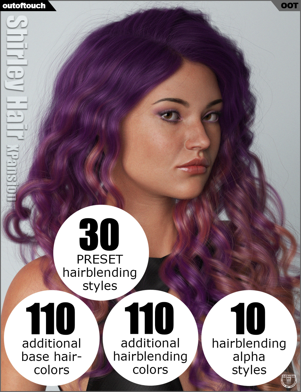 OOT Hairblending 2.0 Texture XPansion for Shirley Hair by: outoftouch, 3D Models by Daz 3D