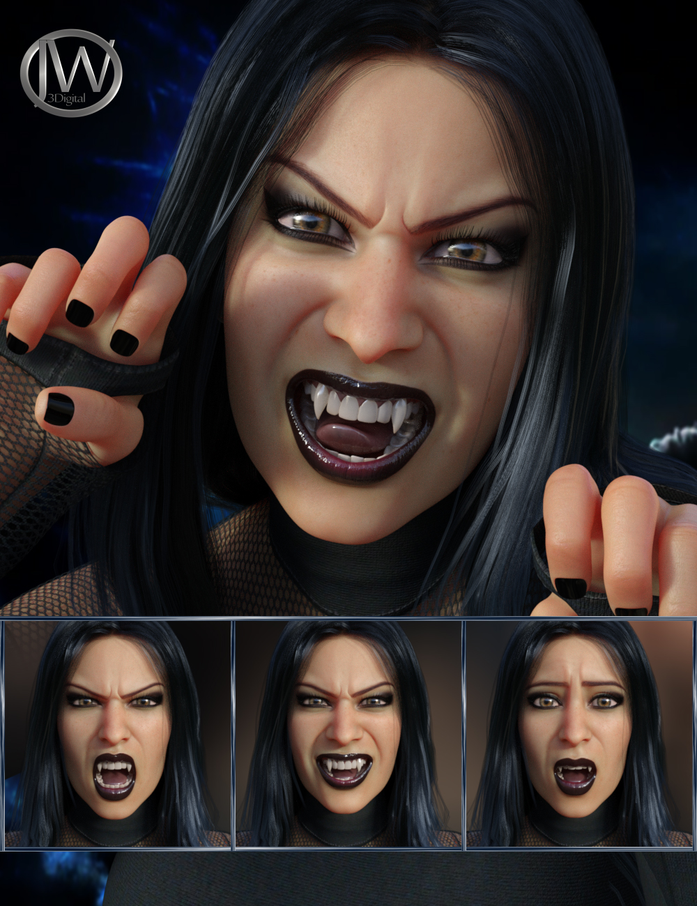 Darkside - Expressions for Genesis 8 Female and Tasha 8 by: JWolf, 3D Models by Daz 3D