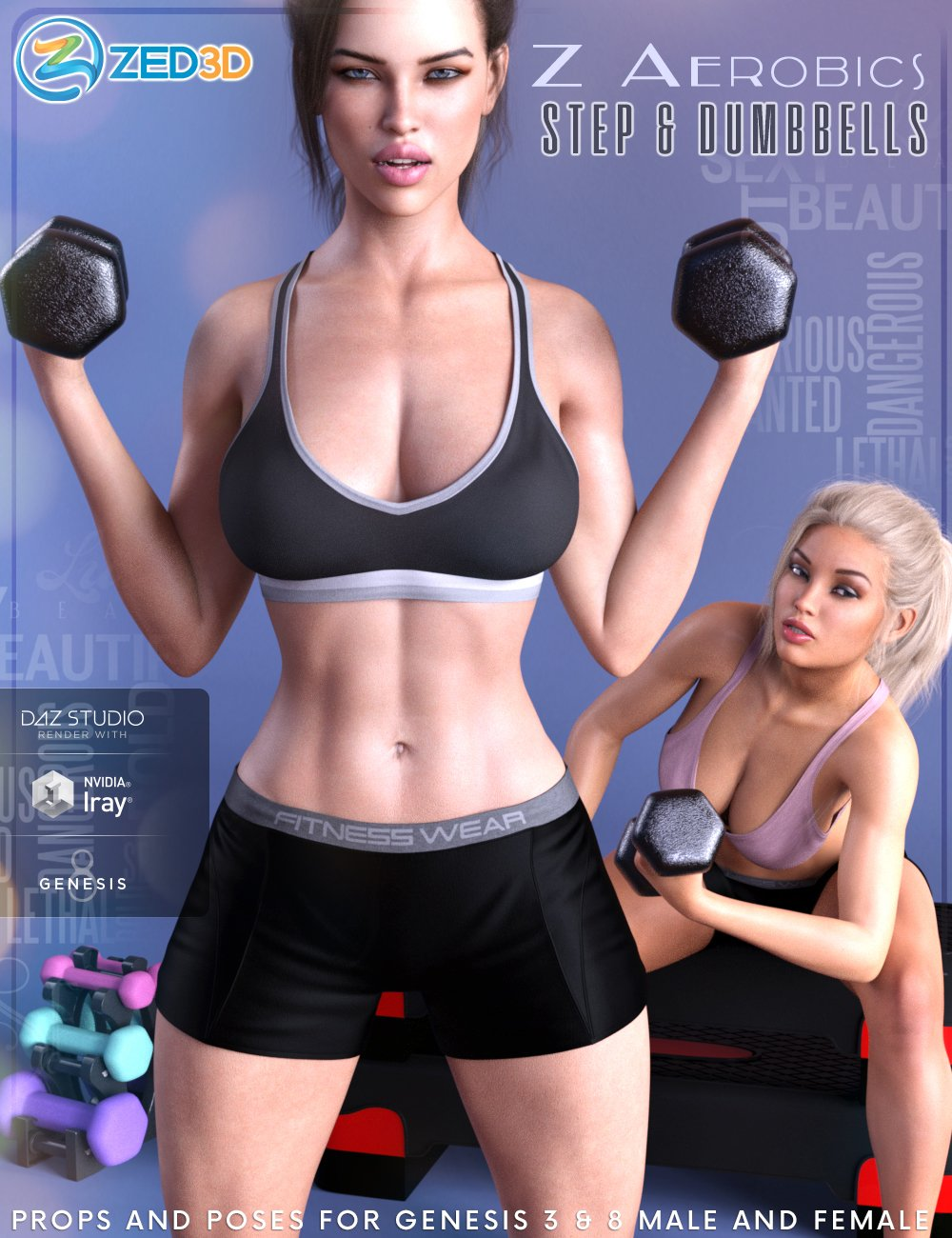 Z Aerobics Step & Dumbbells Props and Poses for Genesis 3 and 8 by: Zeddicuss, 3D Models by Daz 3D