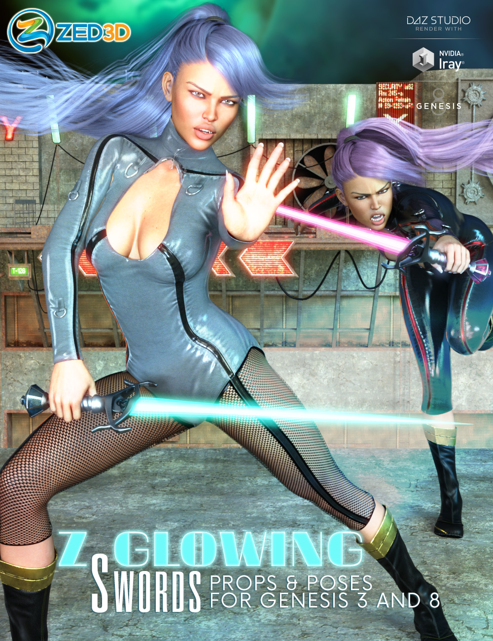 Z Glowing Swords and Poses for Genesis 3 and 8 by: Zeddicuss, 3D Models by Daz 3D