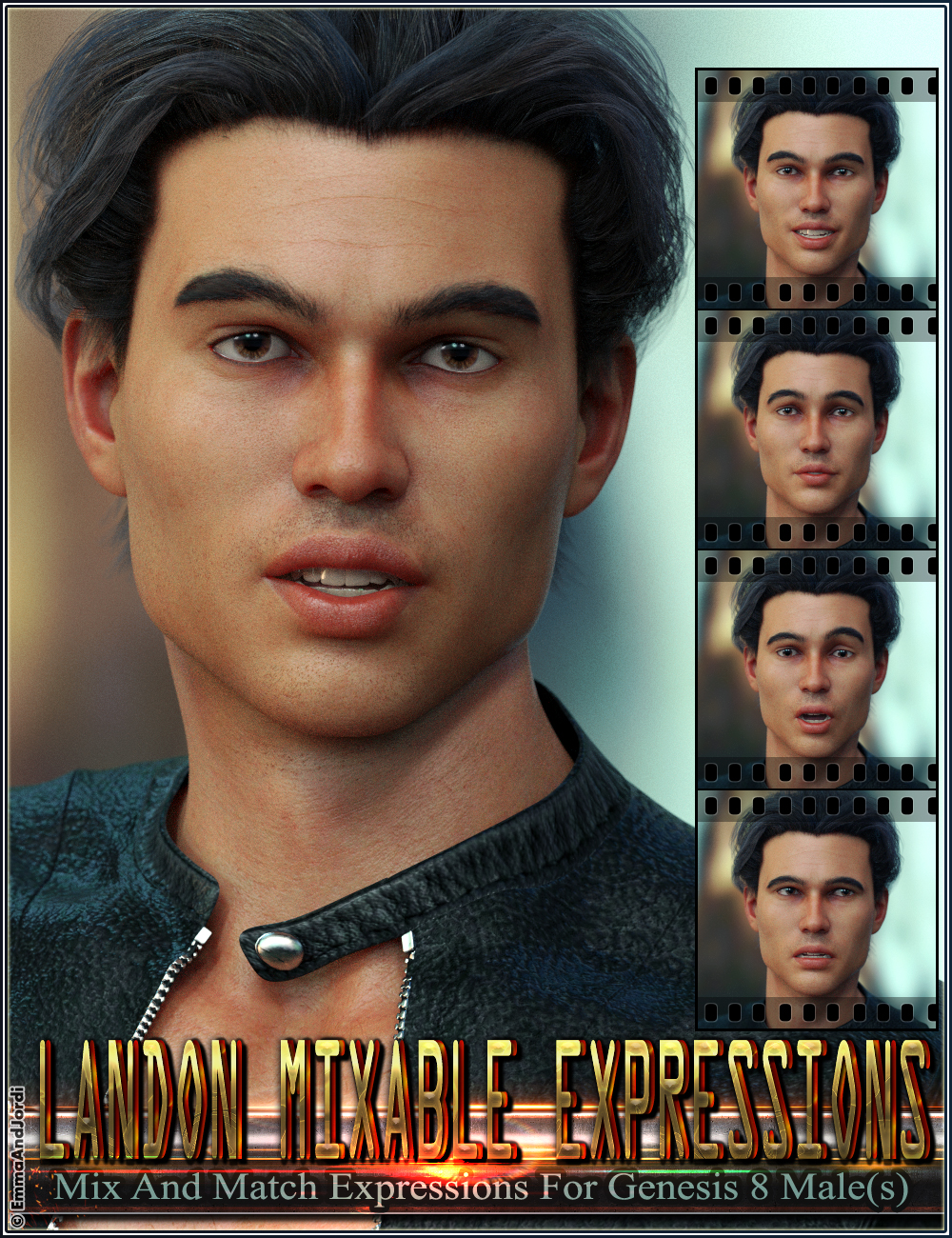 Mixable Expressions for Landon 8 and Genesis 8 Male by: EmmaAndJordi, 3D Models by Daz 3D