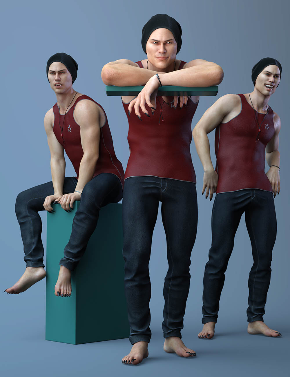 Poses and Expressions for Landon 8 and Genesis 8 Male by: Capsces Digital Ink, 3D Models by Daz 3D