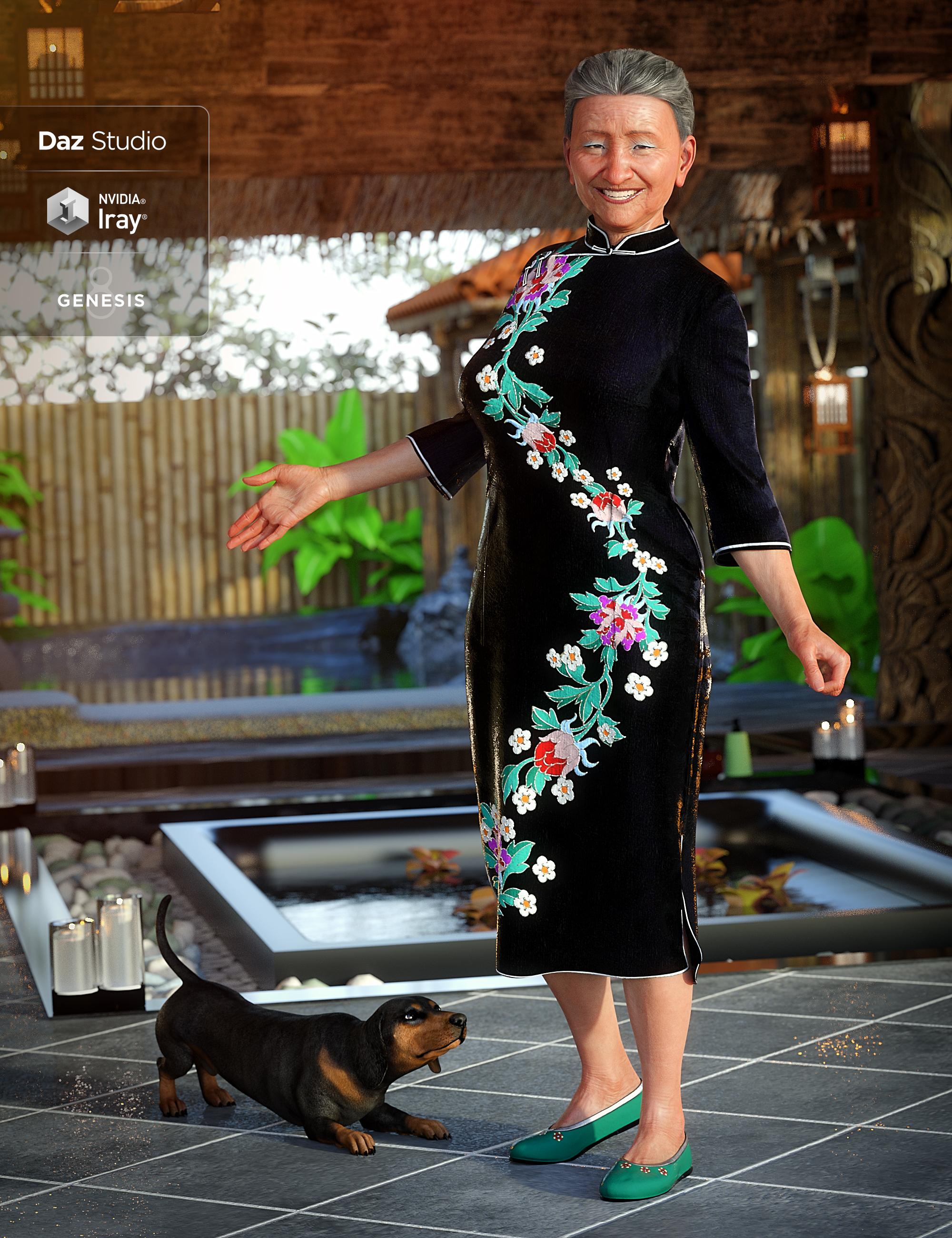 dForce Long Sleeve Cheongsam for Genesis 8 Female(s) by: LuthbellinaMada, 3D Models by Daz 3D