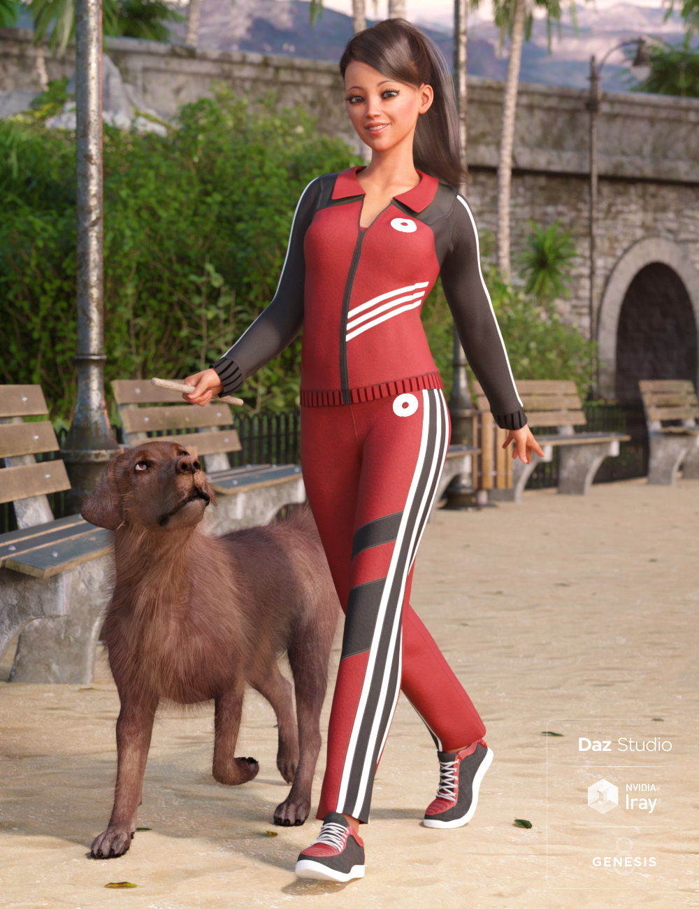 Morning Walk Outfit for Genesis 8 Female(s) by: Barbara BrundonMoonscape GraphicsSadeUmblefugly, 3D Models by Daz 3D