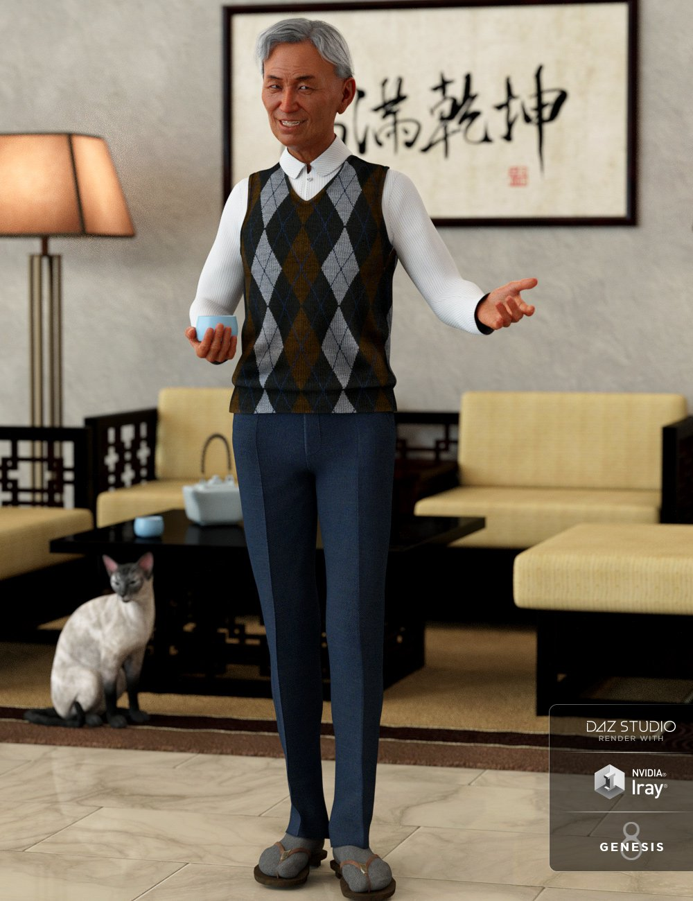dForce Sweater Vest Style Outfit for Genesis 8 Male(s) by: Barbara BrundonUmblefugly, 3D Models by Daz 3D