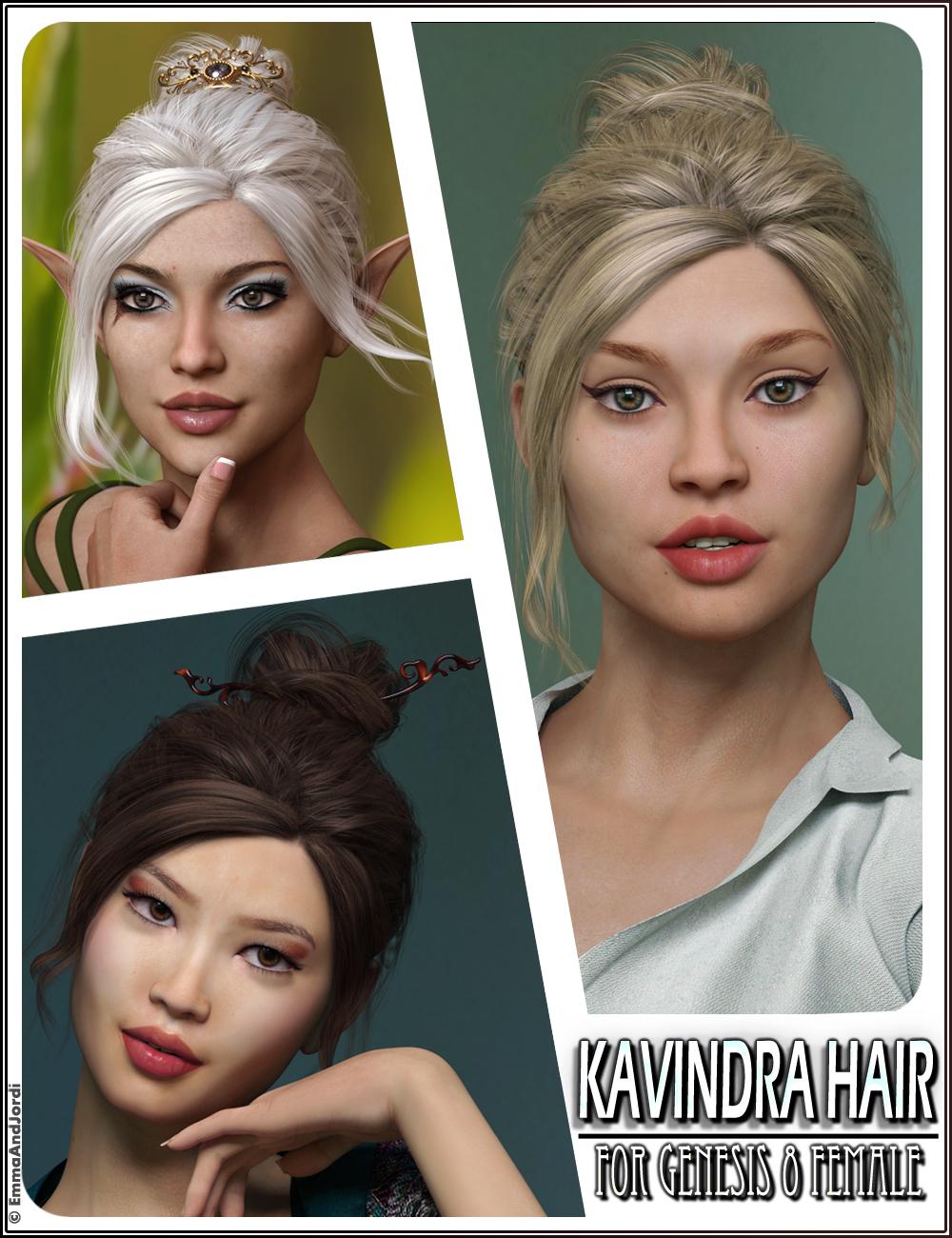 Kavindra Hair For Genesis 8 Female(s) by: EmmaAndJordi, 3D Models by Daz 3D