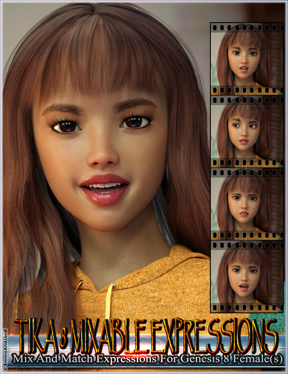 Mixable Expressions for Tika 8 and Genesis 8 Female(s) by: EmmaAndJordi, 3D Models by Daz 3D