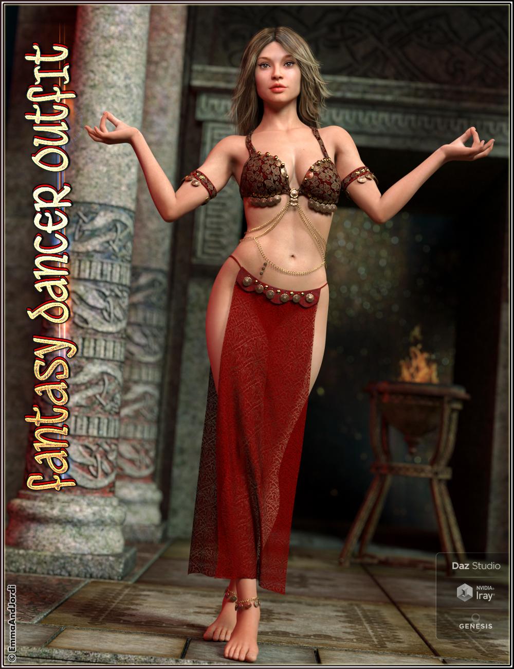 dForce Fantasy Dancer Outfit and Poses For Genesis 8 Female(s) by: EmmaAndJordi, 3D Models by Daz 3D