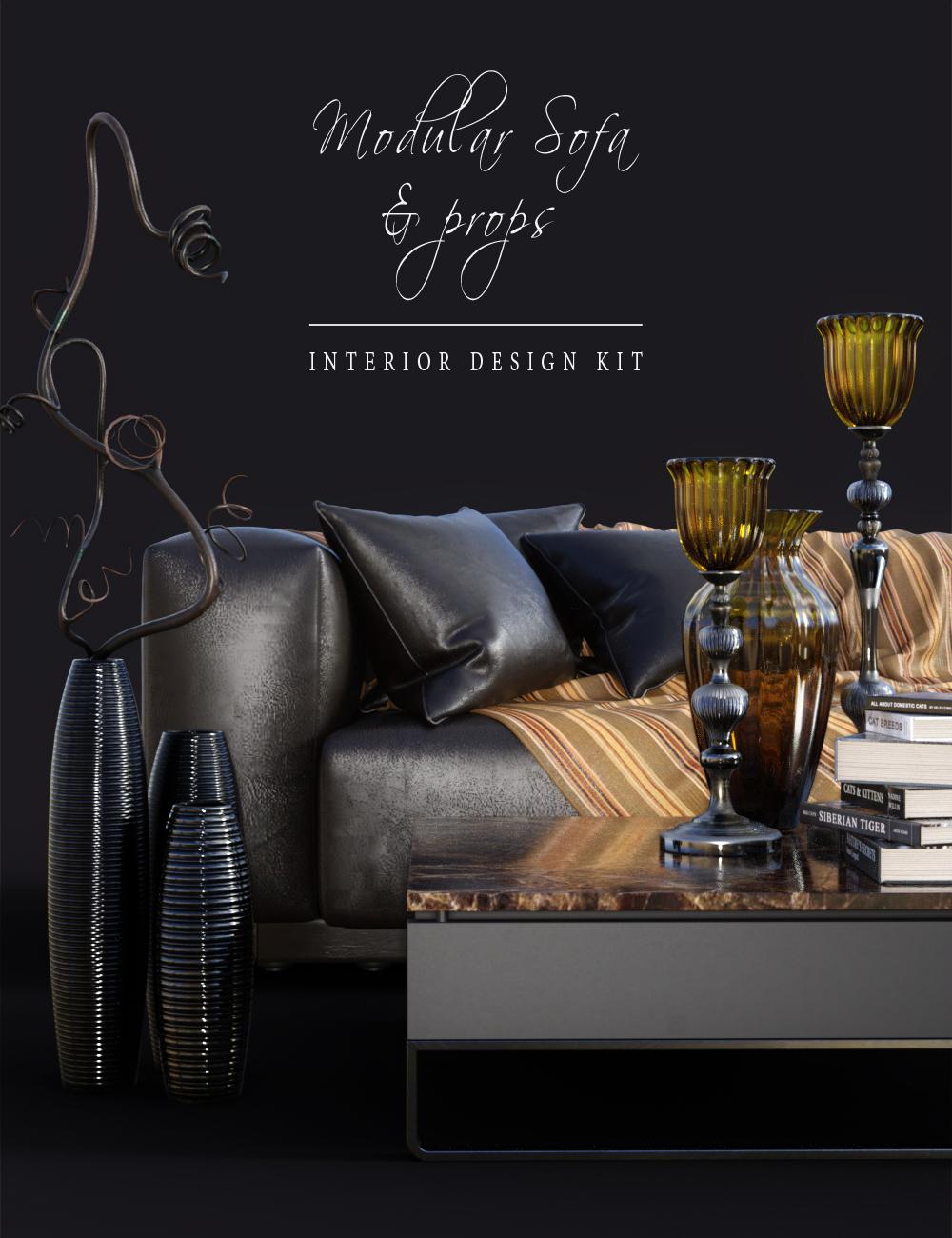 DGV_Modular Sofa & Props by: DG Vertex, 3D Models by Daz 3D