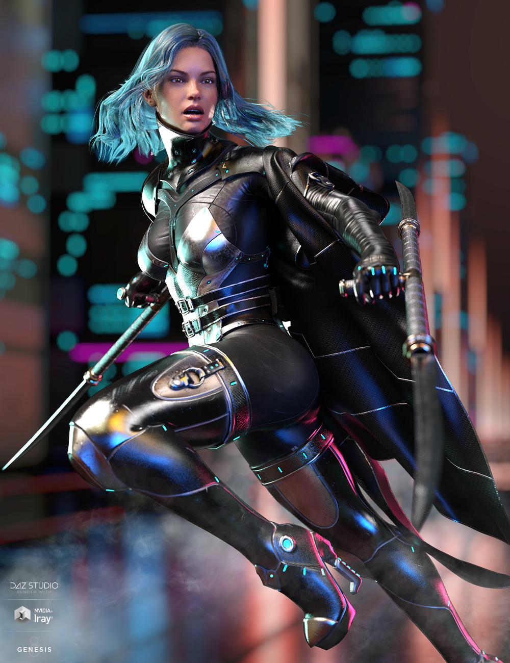 dForce Void Suit-X Outfit and Weapons for Genesis 8 Female(s) by: HM, 3D Models by Daz 3D