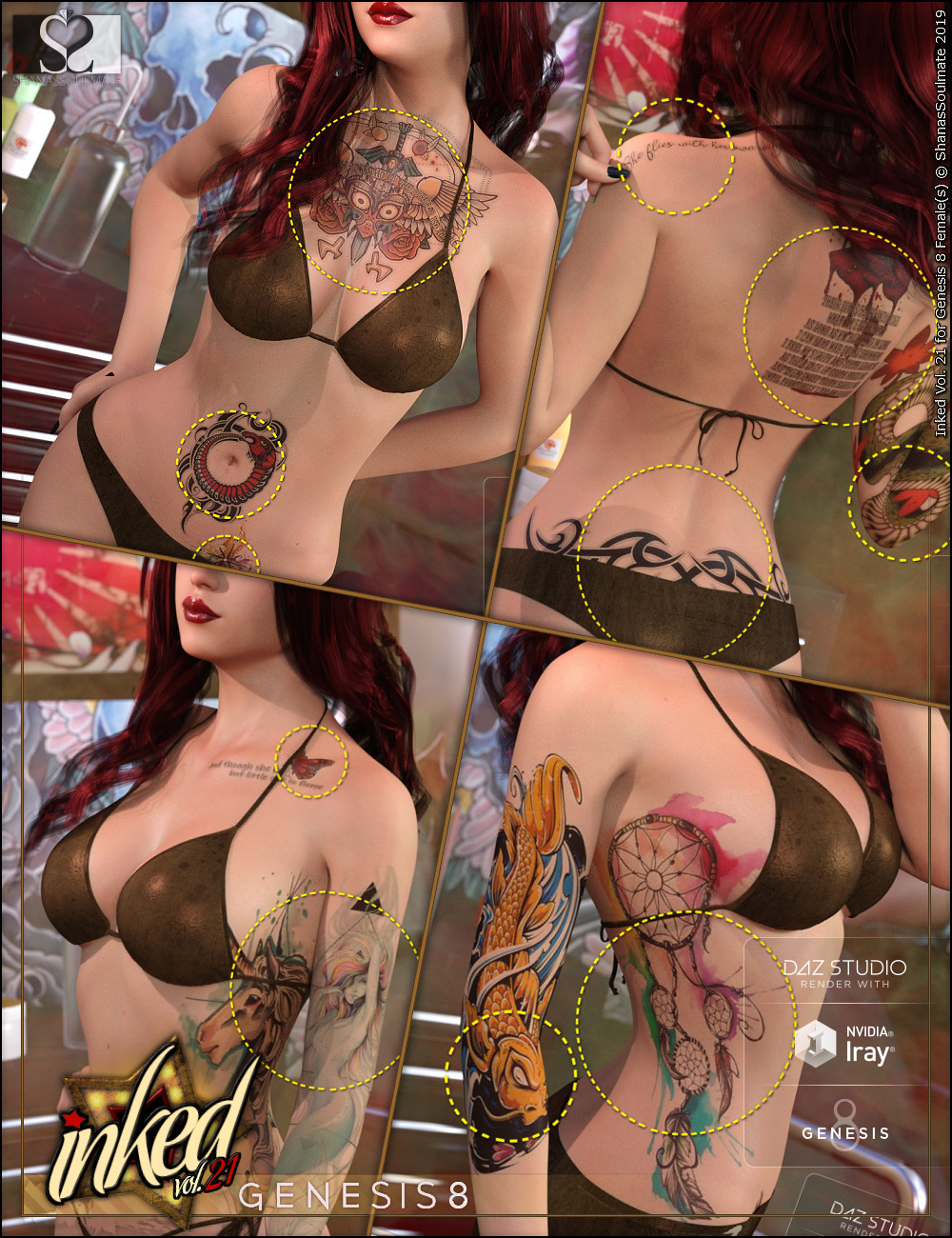 Inked Vol.21 for Genesis 8 Female(s) by: ShanasSoulmate, 3D Models by Daz 3D