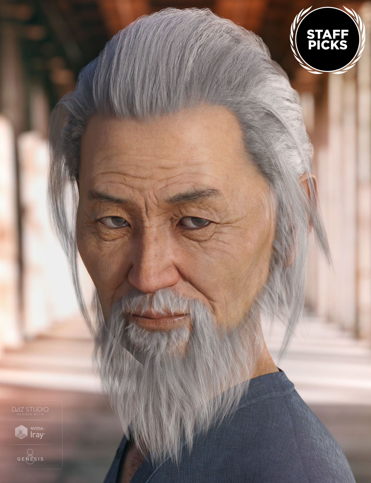 Nikan Hair and Beard for Genesis 3 & 8 Male(s) by: AprilYSH, 3D Models by Daz 3D