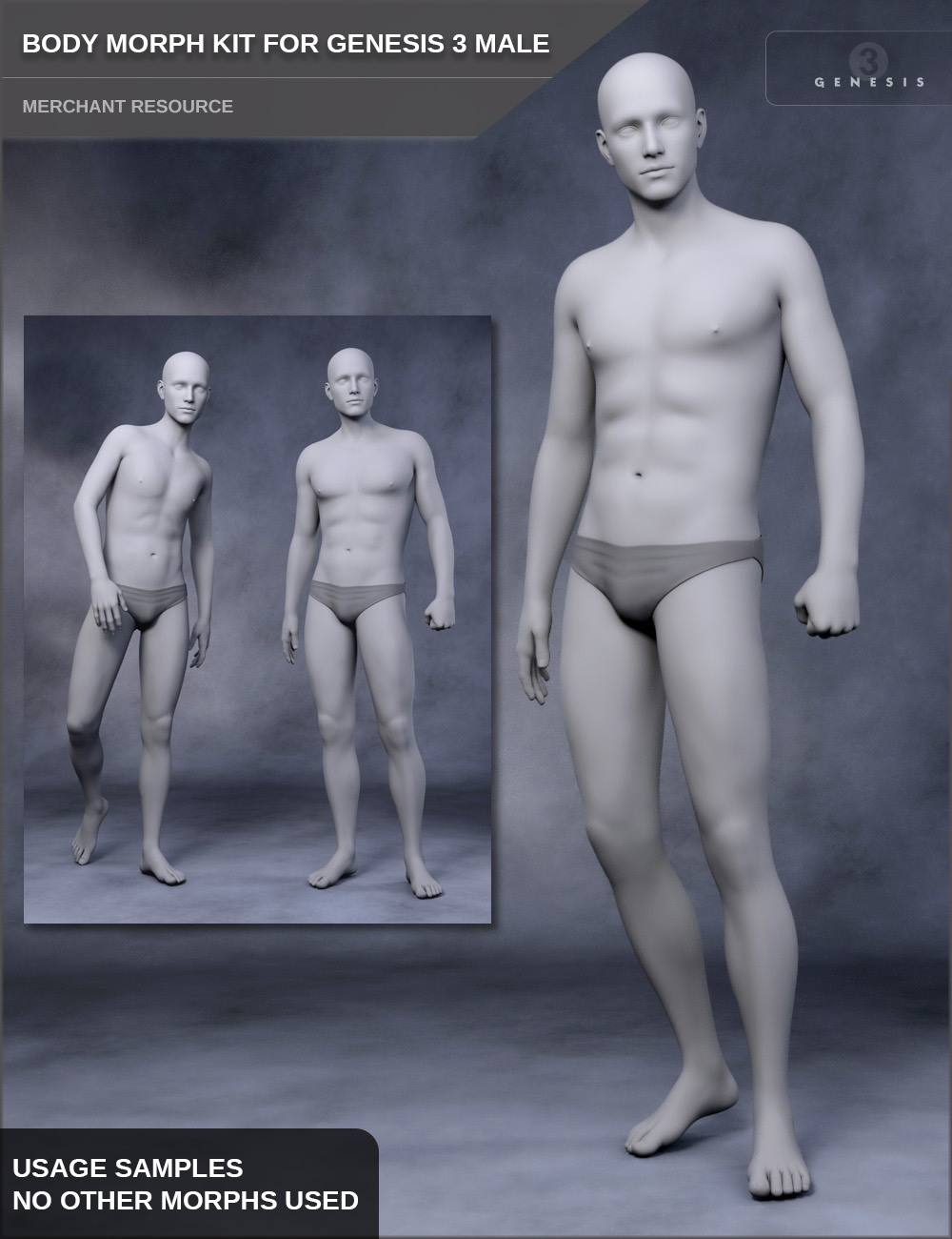 Body Morph Kit for Genesis 3 Male and Merchant Resource by: SF-Design, 3D Models by Daz 3D