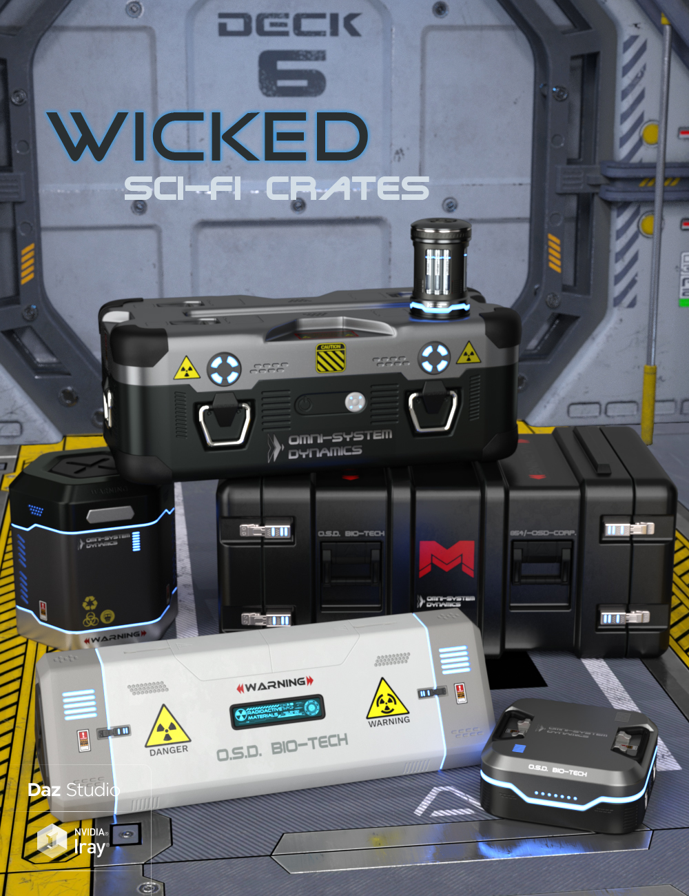 Wicked Sci-Fi Crates by: Wicked Creations, 3D Models by Daz 3D