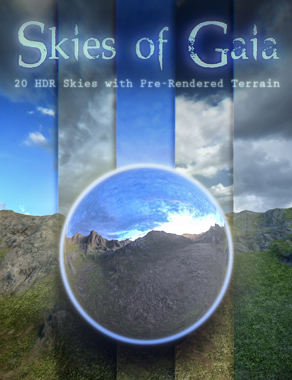 Skies of Gaia - 20 8k HDRI Skies with Pre-Rendered Terrain for Iray by: DimensionTheory, 3D Models by Daz 3D