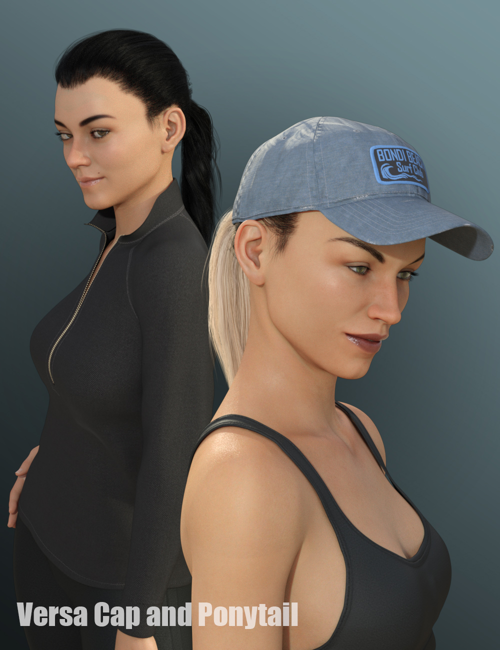 Versa Cap and Ponytail for Genesis 8 Female(s) by: the3dwizard, 3D Models by Daz 3D