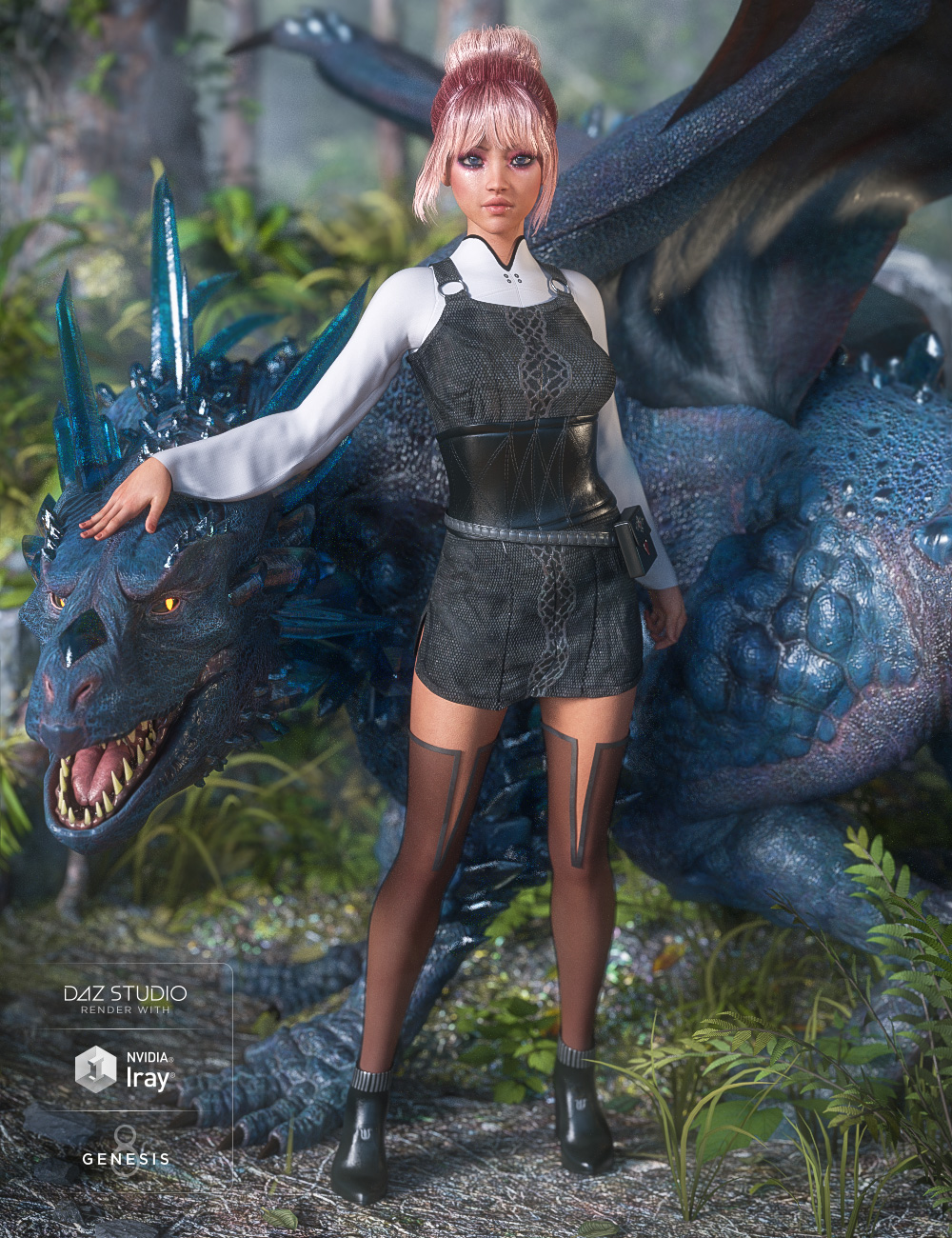 dForce Dragon Sitter Outfit for Genesis 8 Female(s) by: Barbara BrundonMoonscape GraphicsSadeUmblefugly, 3D Models by Daz 3D