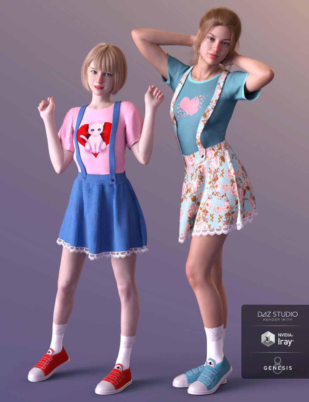 dForce Kawaii Overalls for Genesis 8 Female(s) by: Cherubit, 3D Models by Daz 3D