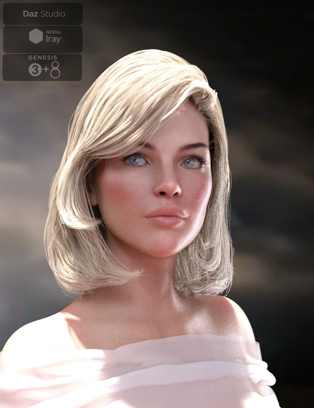 Lyam Bob Hair for Genesis 3 and Genesis 8 Female(s) by: Neftis3D, 3D Models by Daz 3D