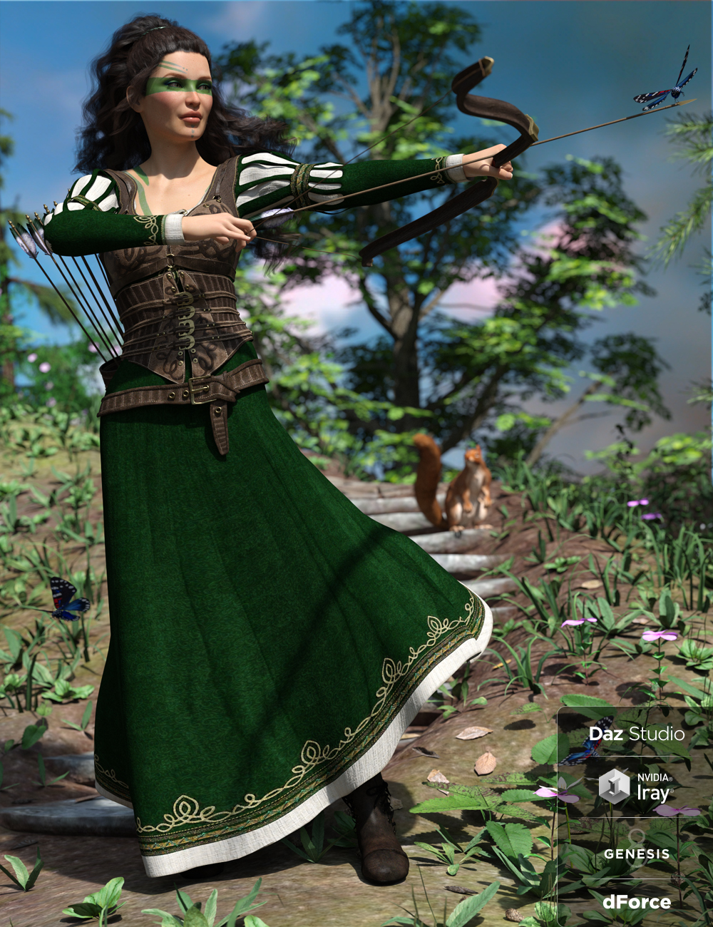 dForce Meadow Whispers Outfit for Genesis 8 Female(s) by: Barbara BrundonDirtyFairyUmblefugly, 3D Models by Daz 3D