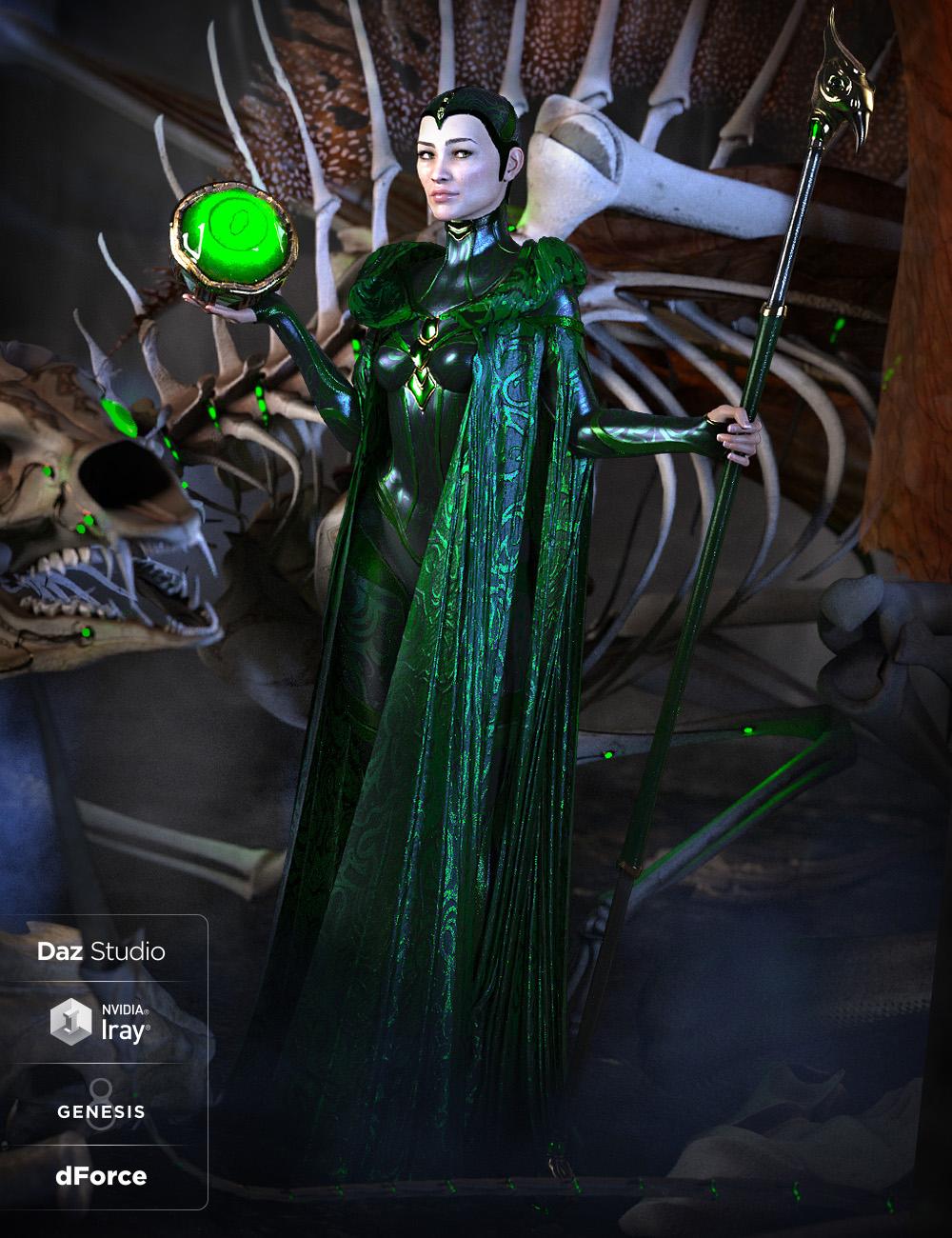 dForce Bone Conjurer Outfit for Genesis 8 Female(s) by: Arki, 3D Models by Daz 3D