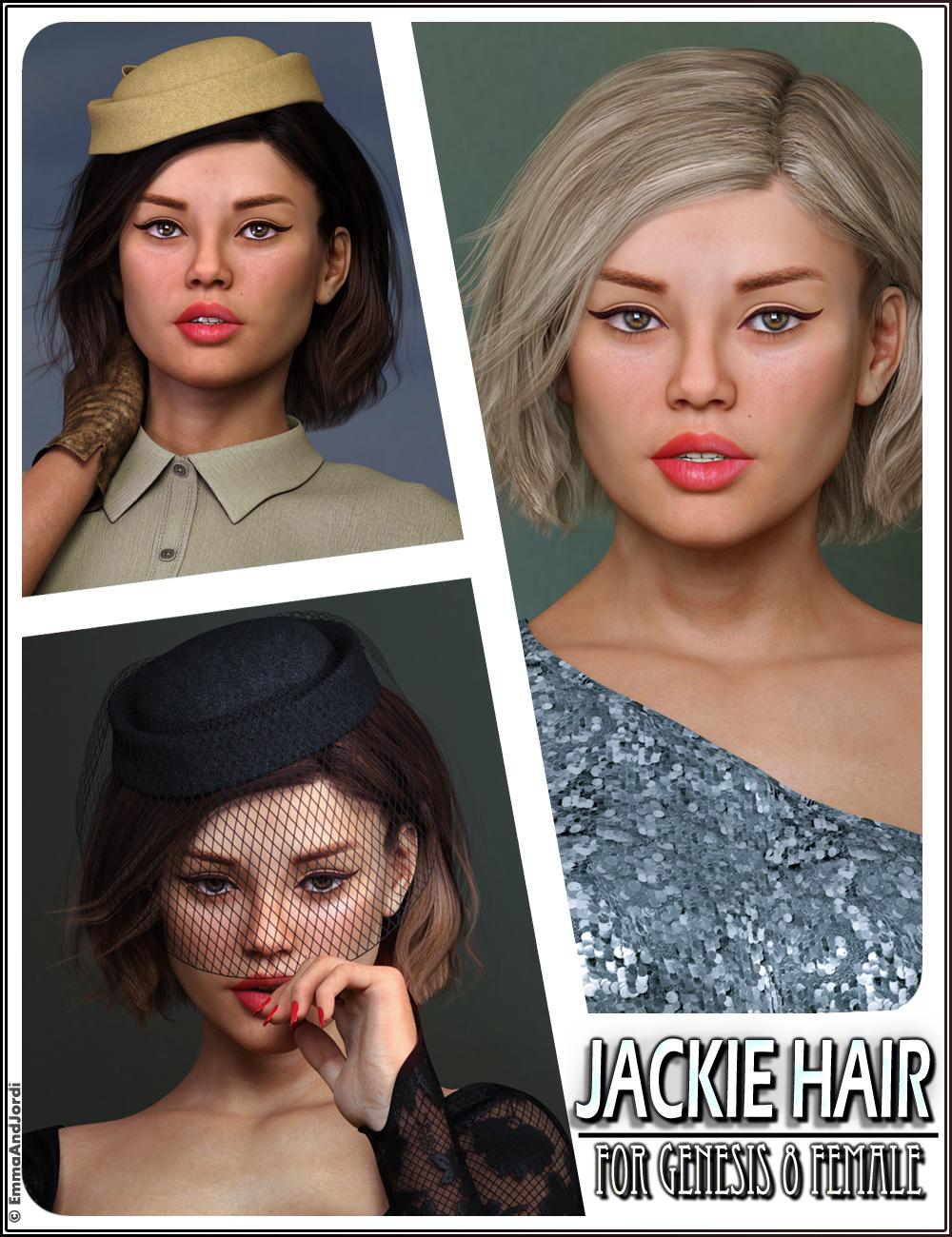 Jackie Hair For Genesis 8 Female(s) by: EmmaAndJordi, 3D Models by Daz 3D