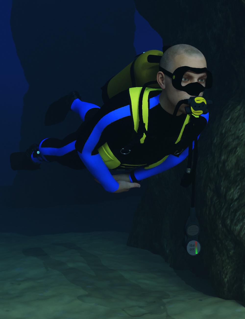 Scuba Gear for Genesis 3 Male by: dglidden, 3D Models by Daz 3D