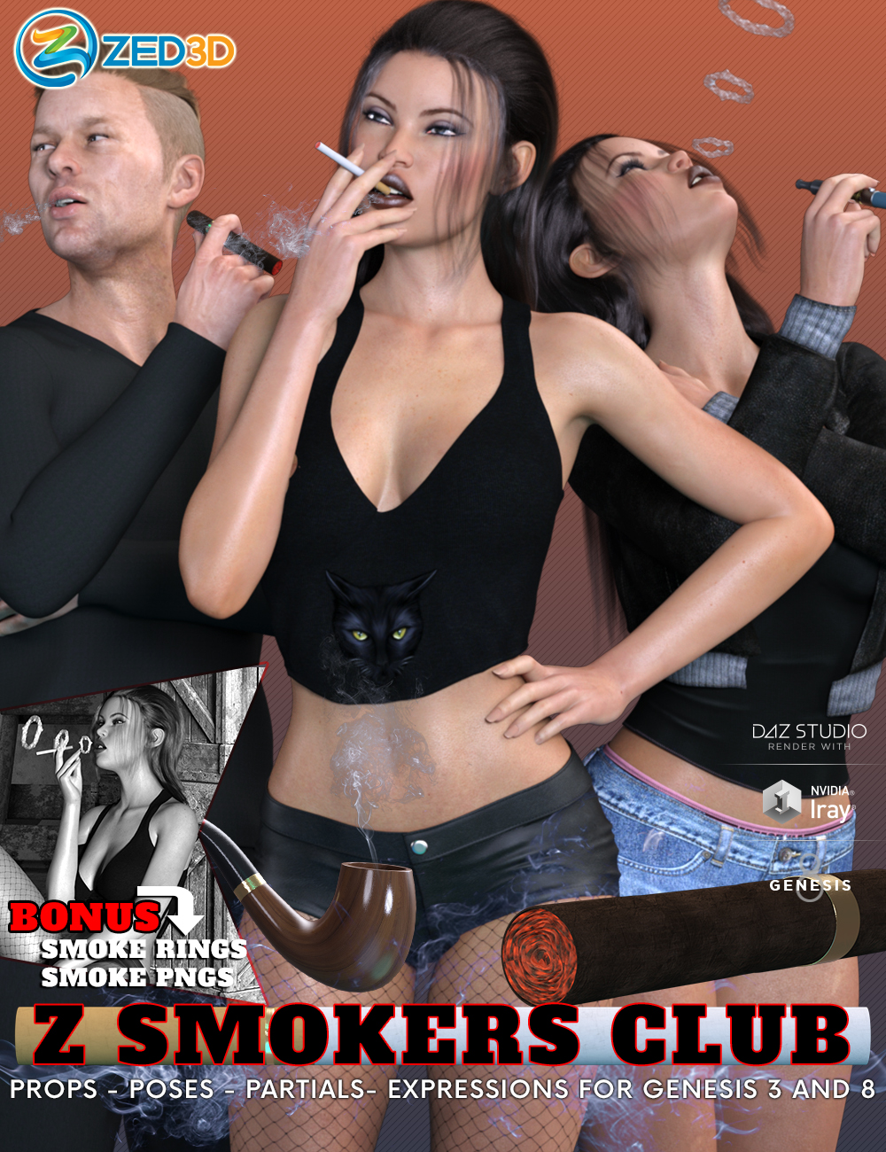 Z Smokers' Club Props Poses and Expressions for Genesis 3 and 8 by: Zeddicuss, 3D Models by Daz 3D