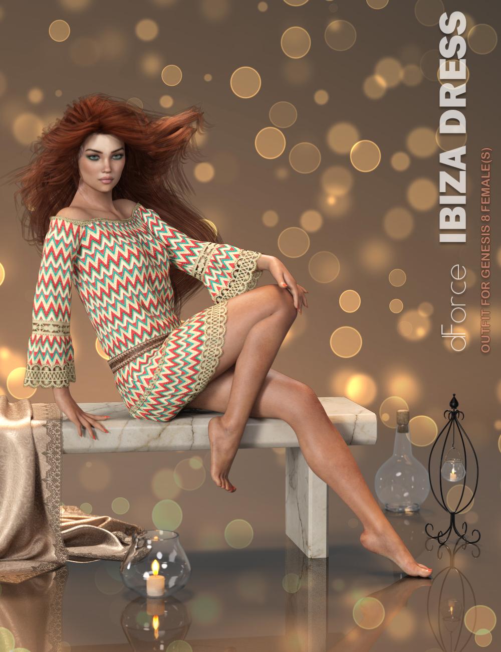 dForce P3D Ibiza Dress for Genesis 8 Female(s) by: P3Design, 3D Models by Daz 3D
