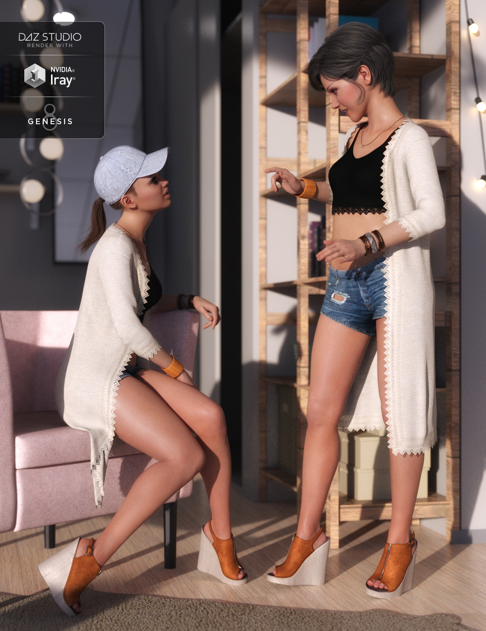 dForce Sunny Days Outfit for Genesis 8 Female(s) by: Barbara BrundonShox-DesignUmblefugly, 3D Models by Daz 3D